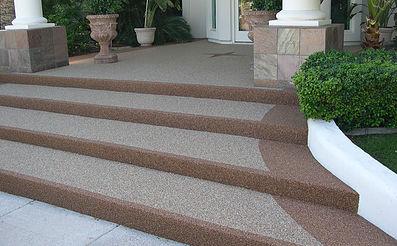 Decorative Pebble Pathways - Exterior Stairs - PebbleKote