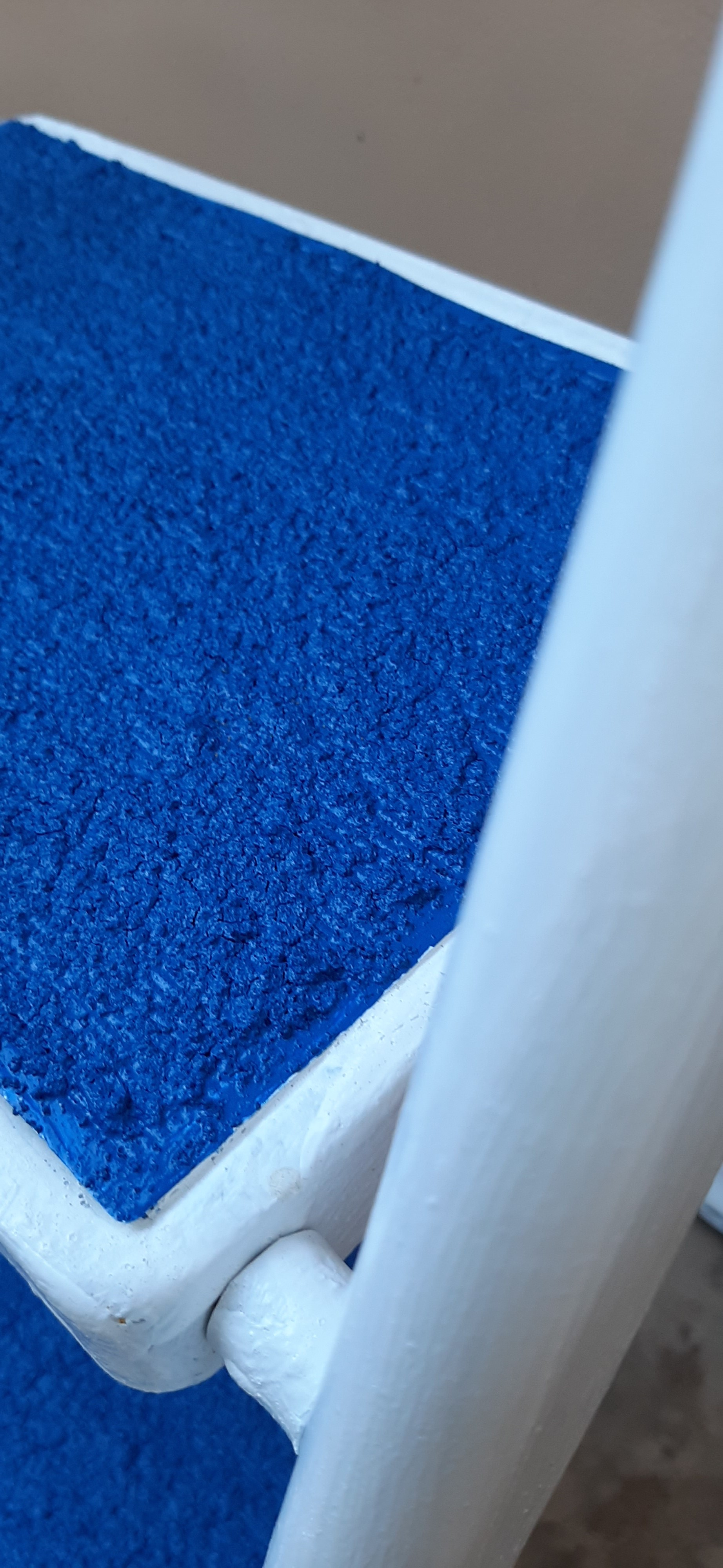 White Paint and Blue Tinted Non-Slip Rubber Step`